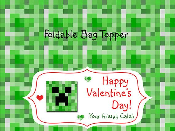 Class Party Valentine Valentine\u0027s MINECRAFT Candy Kisses Treat Bag