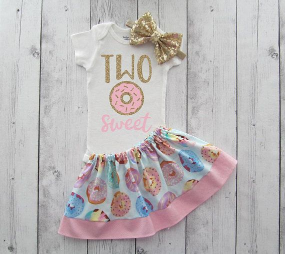 Donut Second Birthday Outfit for baby girl - donut grow up, two sweet, donut 2nd birthday, pink and gold, donut birthday girl