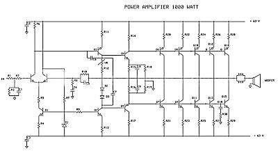 1000 watt audio amplifier circuit diagrams