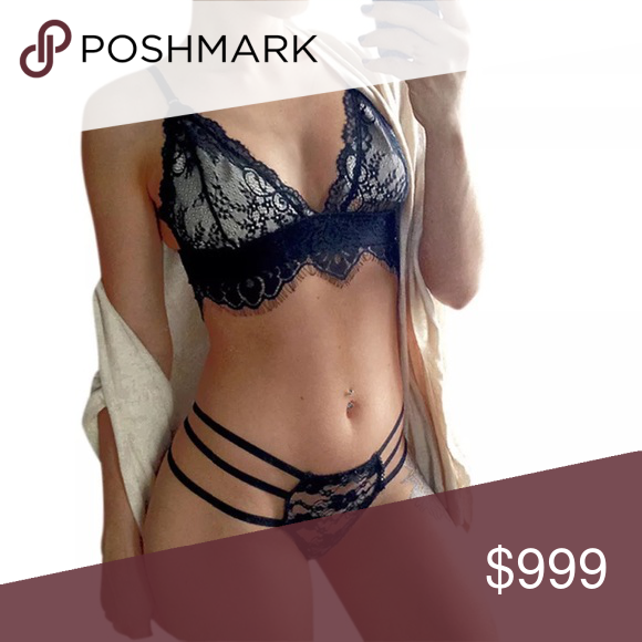 2d2c28ff58 🆕Sexy Strappy Lace Lingerie Set Lace bralette and panty set. Fits up to a  full C small D cup and large bottom approximately. NO TRADES  Quinn-Tessential ...