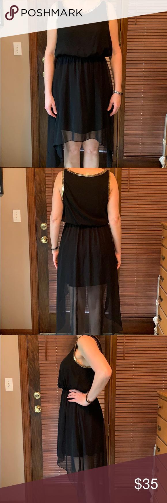 Black Asymmetrical Sheer Dress W Gold Trim Sheer Dress Black Sheer Dress Dresses