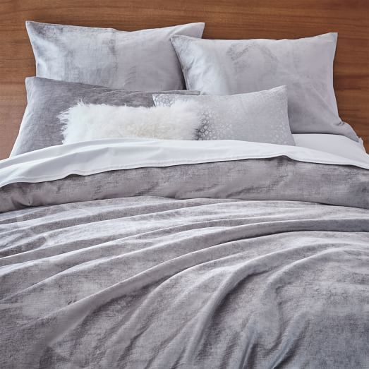 Washed Cotton Luster Velvet Duvet Cover Shams Platinum