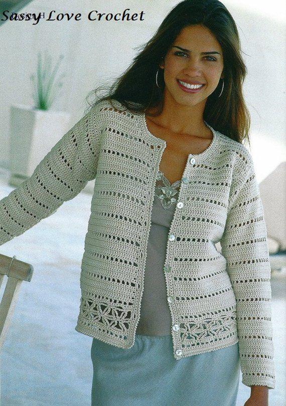 Crochet Uk Cardigan Pattern Ladies Womens Church Office Sweater