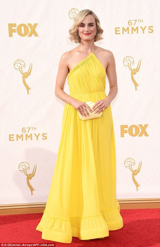 Taylor Schilling Stuns In Backless Yellow Dress At Emmys Dresses