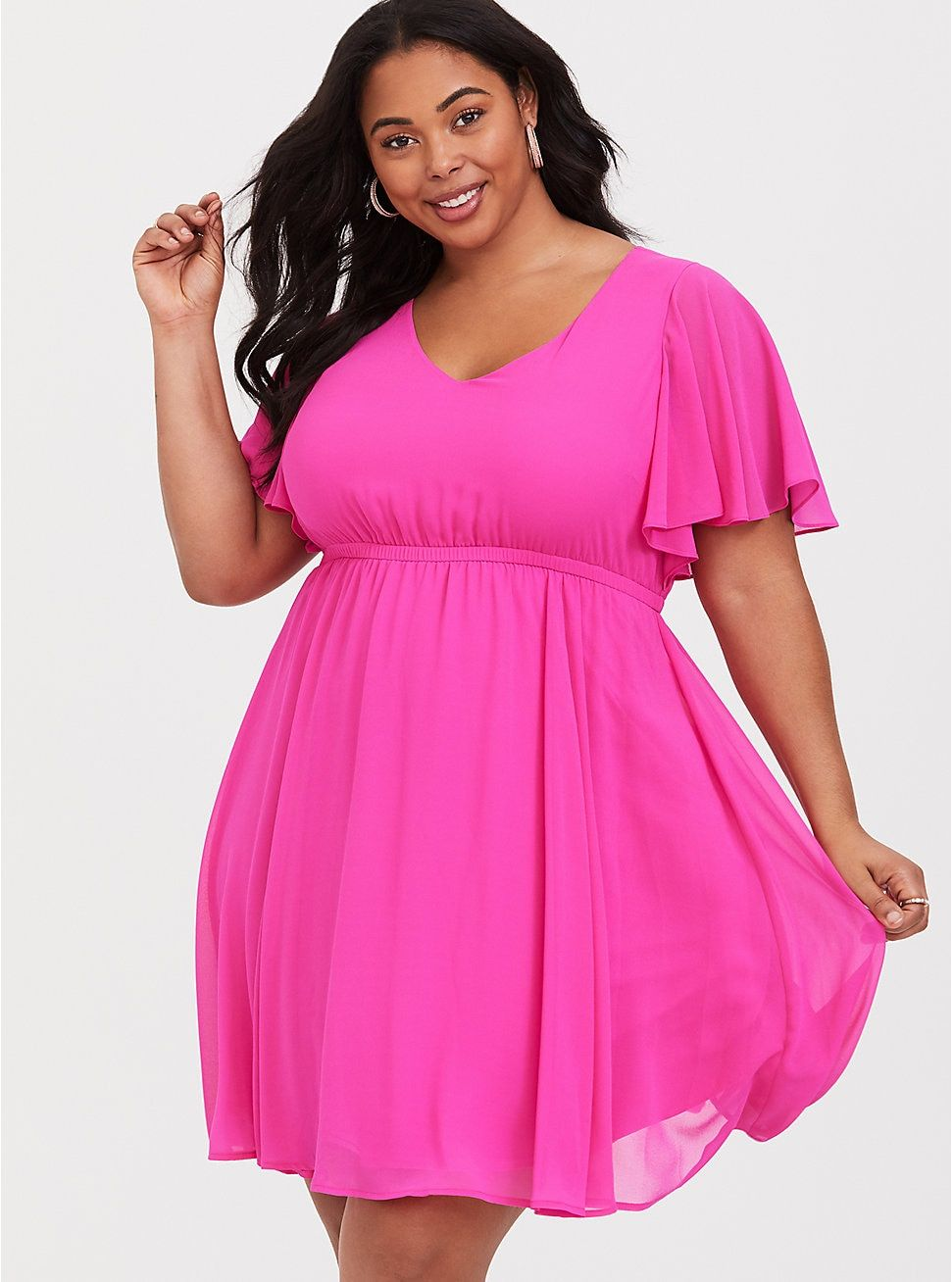 Hot Pink Flutter Chiffon Skater Dress | My Style in 2019 ...