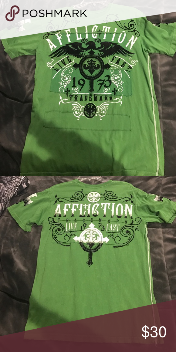 Green Affliction T-Shirt Size Medium Size Medium Affliction Shirts Tees - Short Sleeve