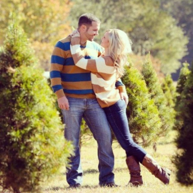 Couples Photo at Christmas Tree Farm