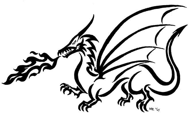 Line Drawing Dragon Tattoo : Images of dragon drawings clipart best dogs plus for