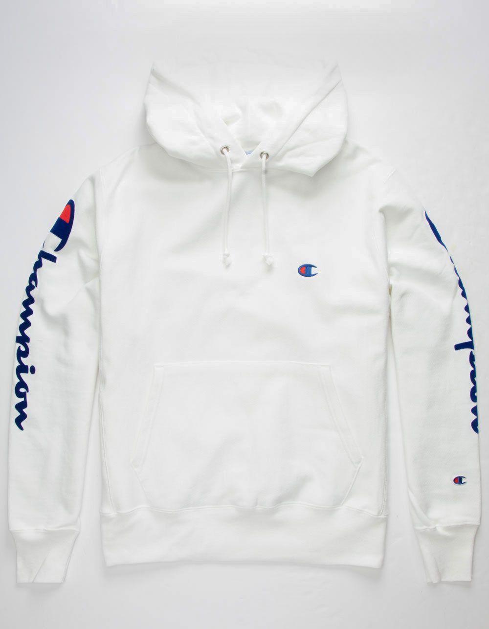 Champion Flock Sleeve White Hoodie White Hoodie Men White Champion Hoodie Champion Clothing [ 1286 x 1000 Pixel ]