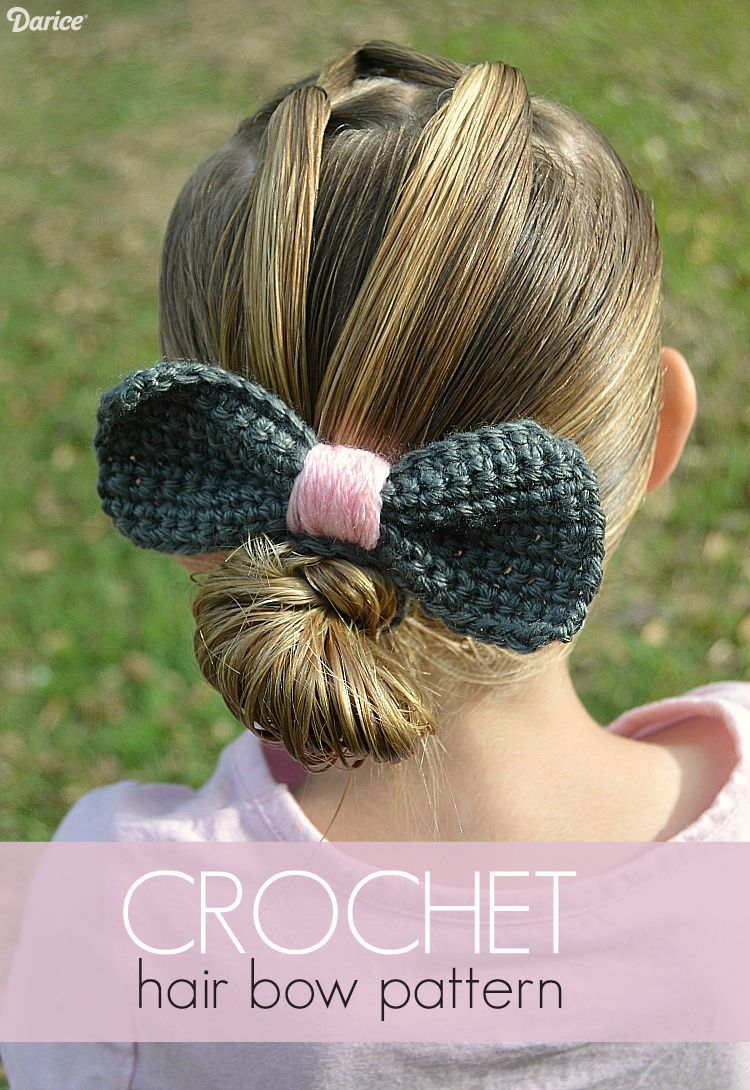 Crochet Bow Pattern with Covered Hair Tie Accessory - Darice #crochetbowpattern Follow our crochet bow pattern to make a sweet hair accessory. The finished bow is attached to a crochet covered hair tie for easy wearing. #crochetbowpattern
