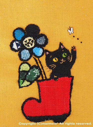 marmelo gallery 赤いブーツと黒猫 仮 切り絵ちっくな布絵 http marmelo jp かわいい絵 幸せアート ネコ イラスト