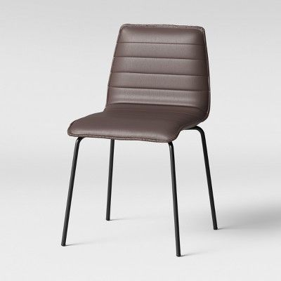 Awe Inspiring Salk Modern Quilted Dining Chair Brown Faux Leather Bralicious Painted Fabric Chair Ideas Braliciousco