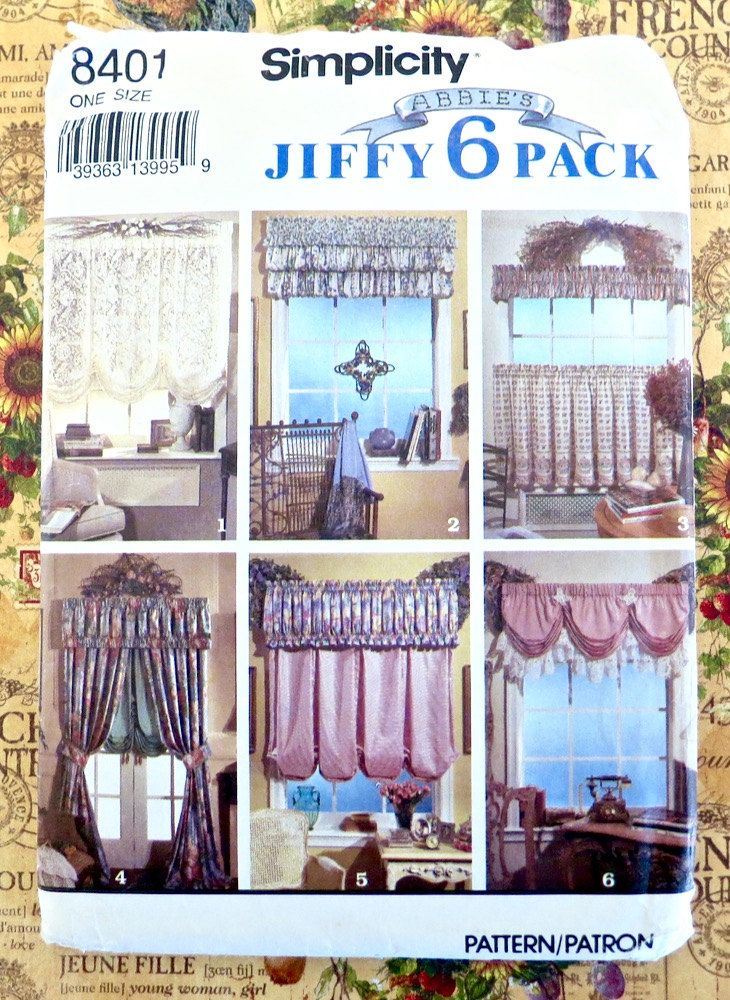 Curtains and Valances Pattern - Abbie\'s Jiffy 6 Pack - Simplicity ...