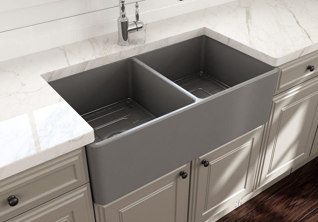 Bocchi Classico 33 Fireclay Farmhouse Kitchen Sink Double Bowl Matte Gray 1139 006 0 In 2020 Double Bowl Kitchen Sink Black Farmhouse Sink Single Bowl Kitchen Sink