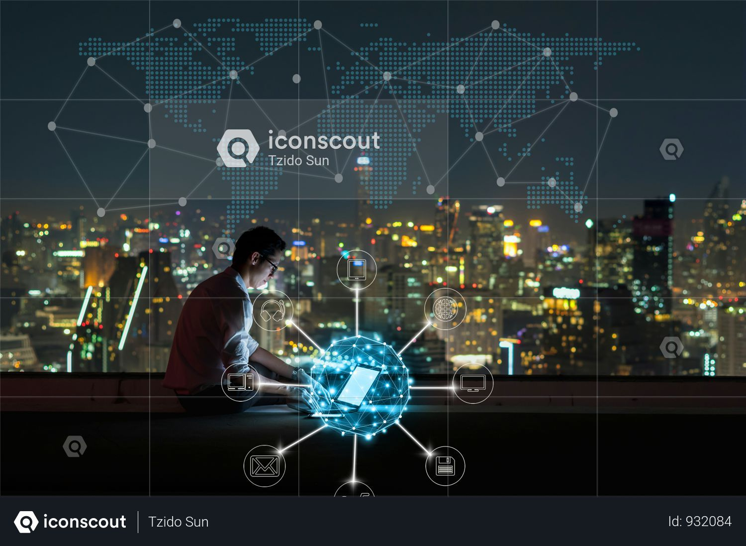 Premium Asian Businessman Sitting And Using The Laptop For Online Shopping With Omni Channel Over The Cityscape Background At Night Time Photo Download In Png Time Photo Night Time Technology