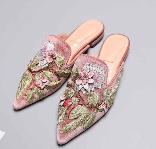 Aliexpress.com : Buy Choudory Pointed Toe Flower Embroidery Woman Slippers  2017 summer high quality