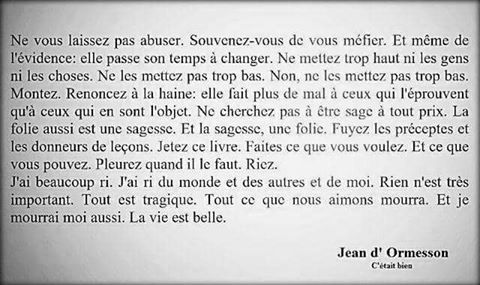 Jean Dormesson Cétait Bien Mots Inspirants La Vie Est