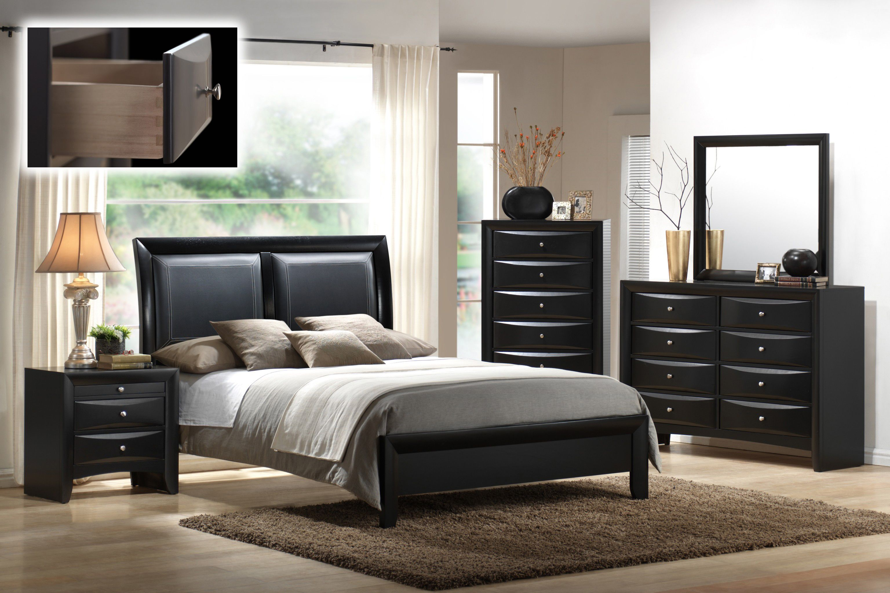 Mollai Collection s Emily 6PC Bedroom Set with Paneled Faux