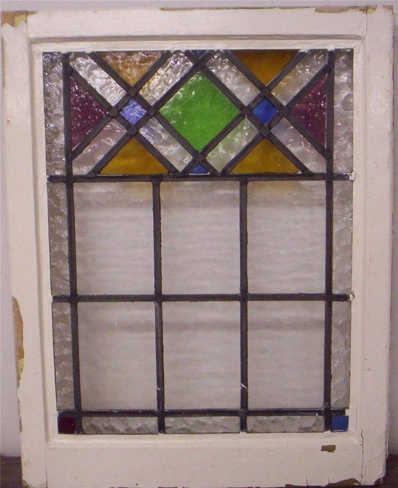 Larger Old English Leaded Stained Gl Window Criss Cross Design 20 5 X 26