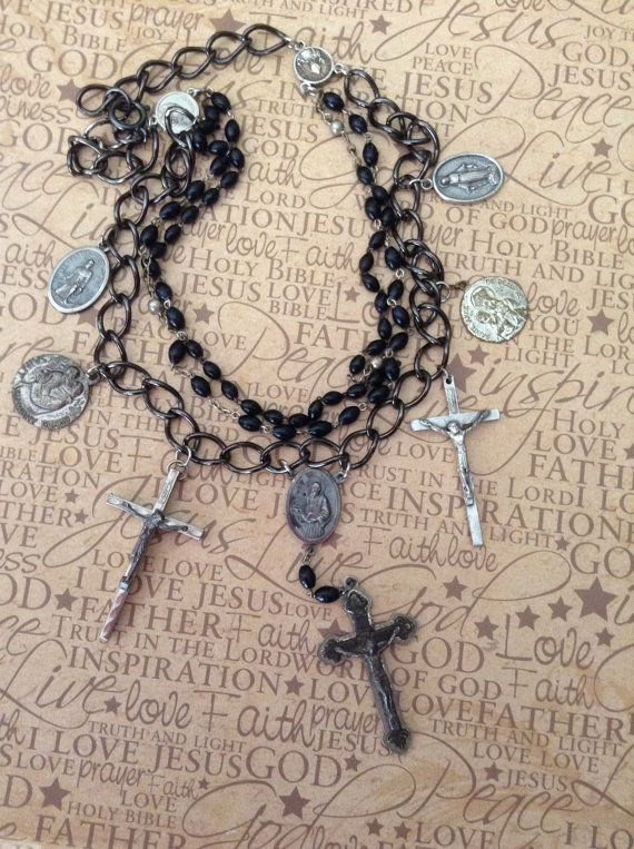 Upcycled Vintage Religious Rosary Assemblage by chrissyslove4beads, $108.00