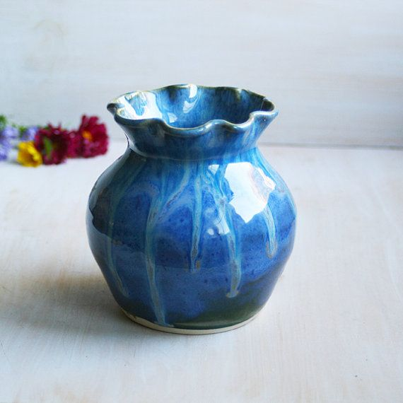 Blue Vase Handmade Pottery Vase Stoneware Bud Vase Ready to Ship Made in USA