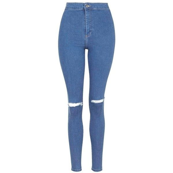 Petite Topshop 'Joni' RippedHigh Rise Skinny Jeans (245 BRL) ❤ liked on Polyvore featuring jeans, distressed jeans, ripped jeans, high waisted jeans, blue jeans and vintage high waisted jeans