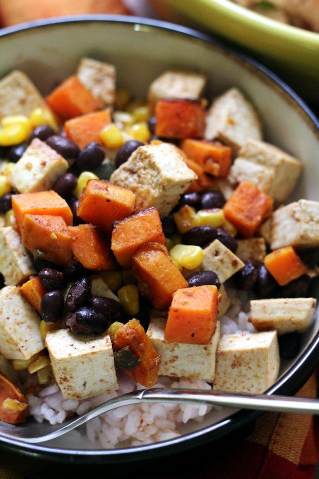 Tofu, Sweet Potato, and Black Bean Carnitas Burrito Bowl