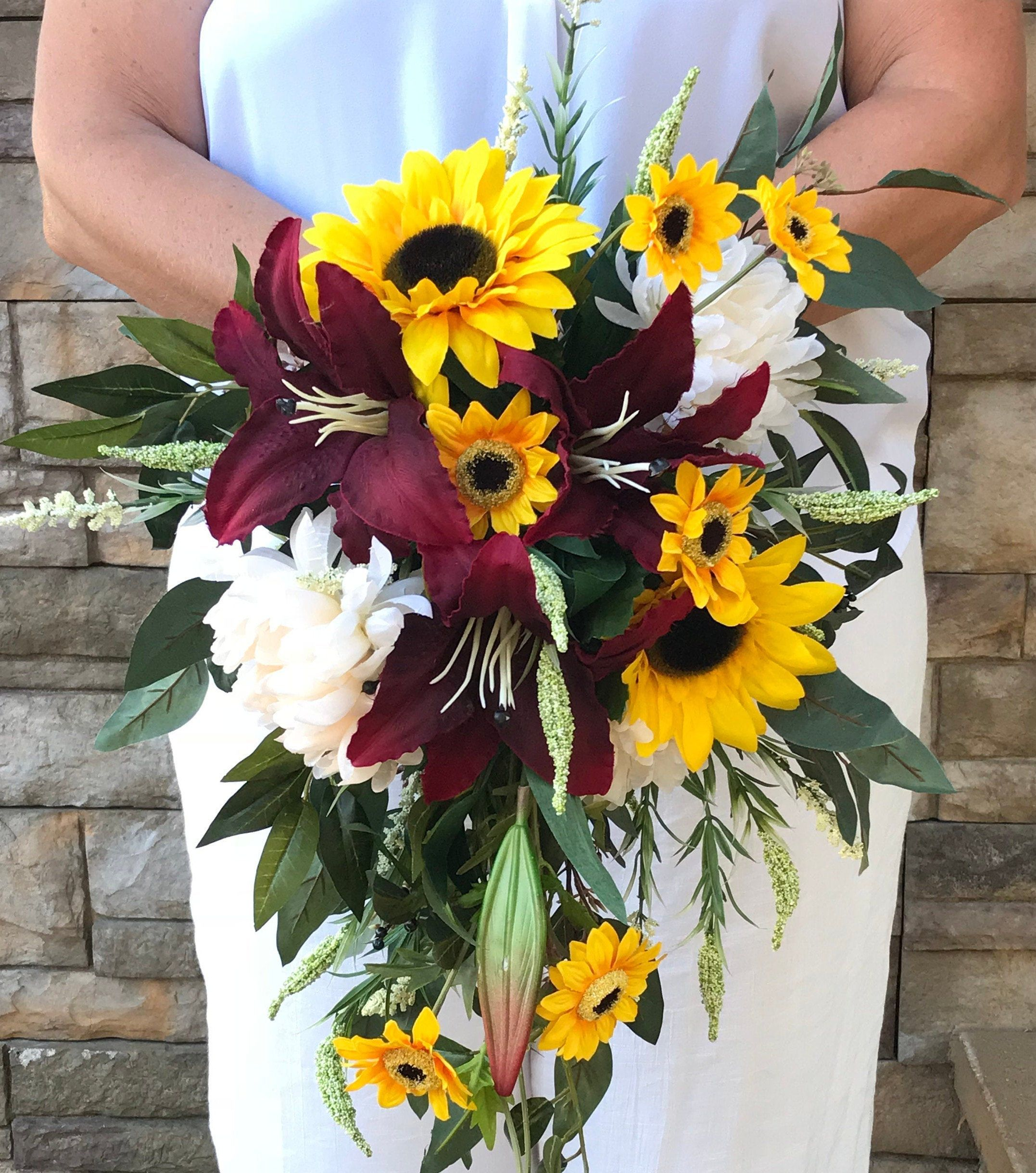 Cascading Crimson Lily Sunflower Bridal Bouquet-Cascading Burgundy Sunflower Silk Bridal Bouquet-Sunflower-Lilies-Chrysanthemums-Eucalyptus