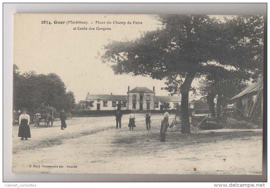 GUER (56 - Morbihan) - 1915 - Place du Champ de Foire et Ecole des
