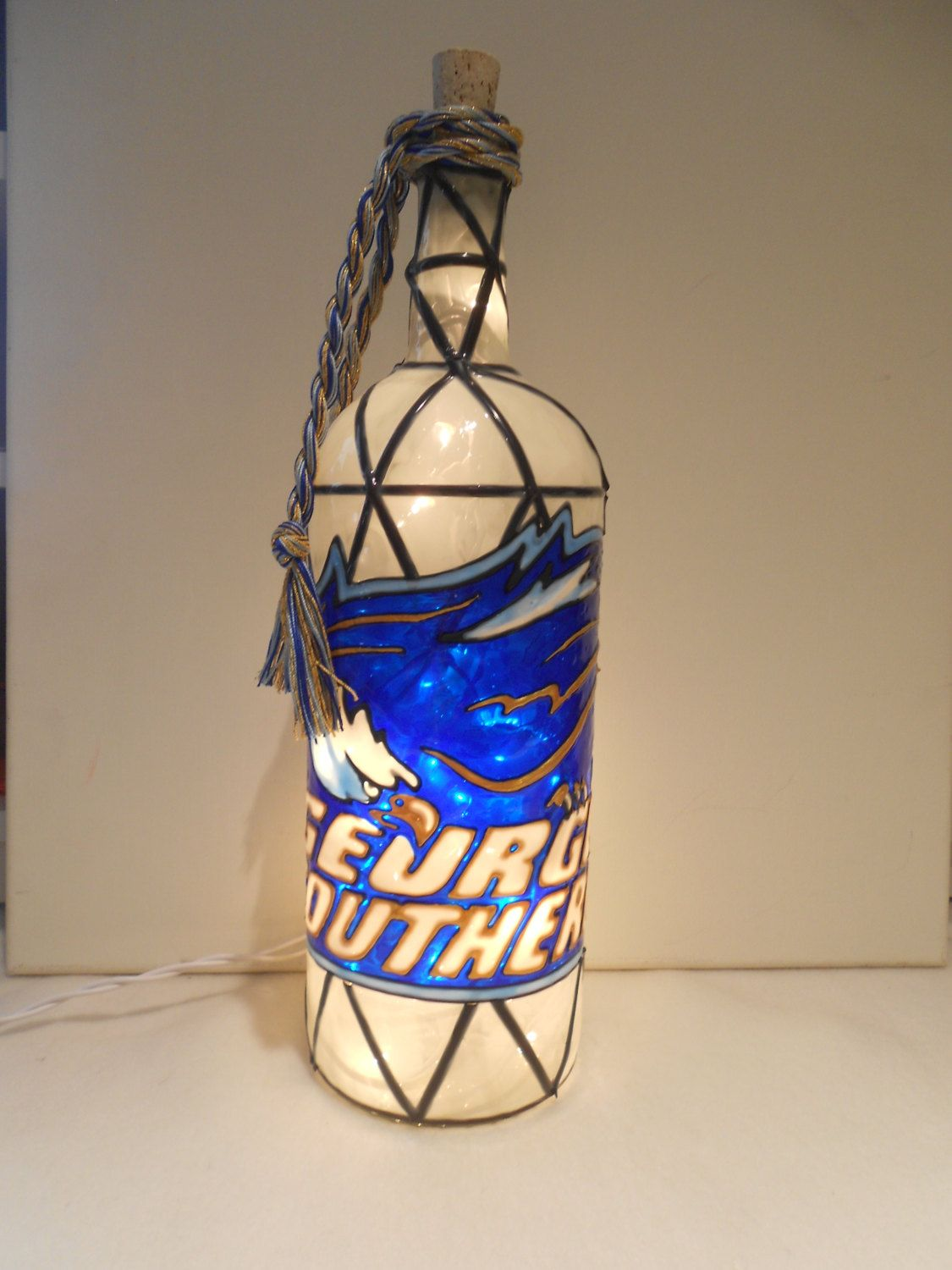Louisiana State University Inspired Bottle Lamp Handpainted Lighted Stained Glass look.