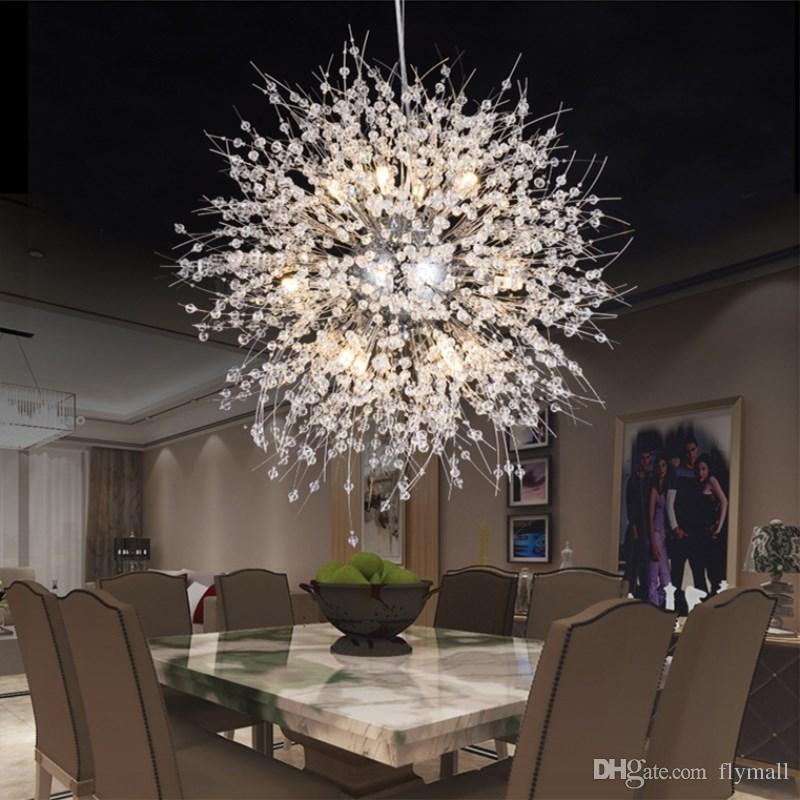 Modern Dandelion Led Ceiling Light Crystal Chandeliers Lighting