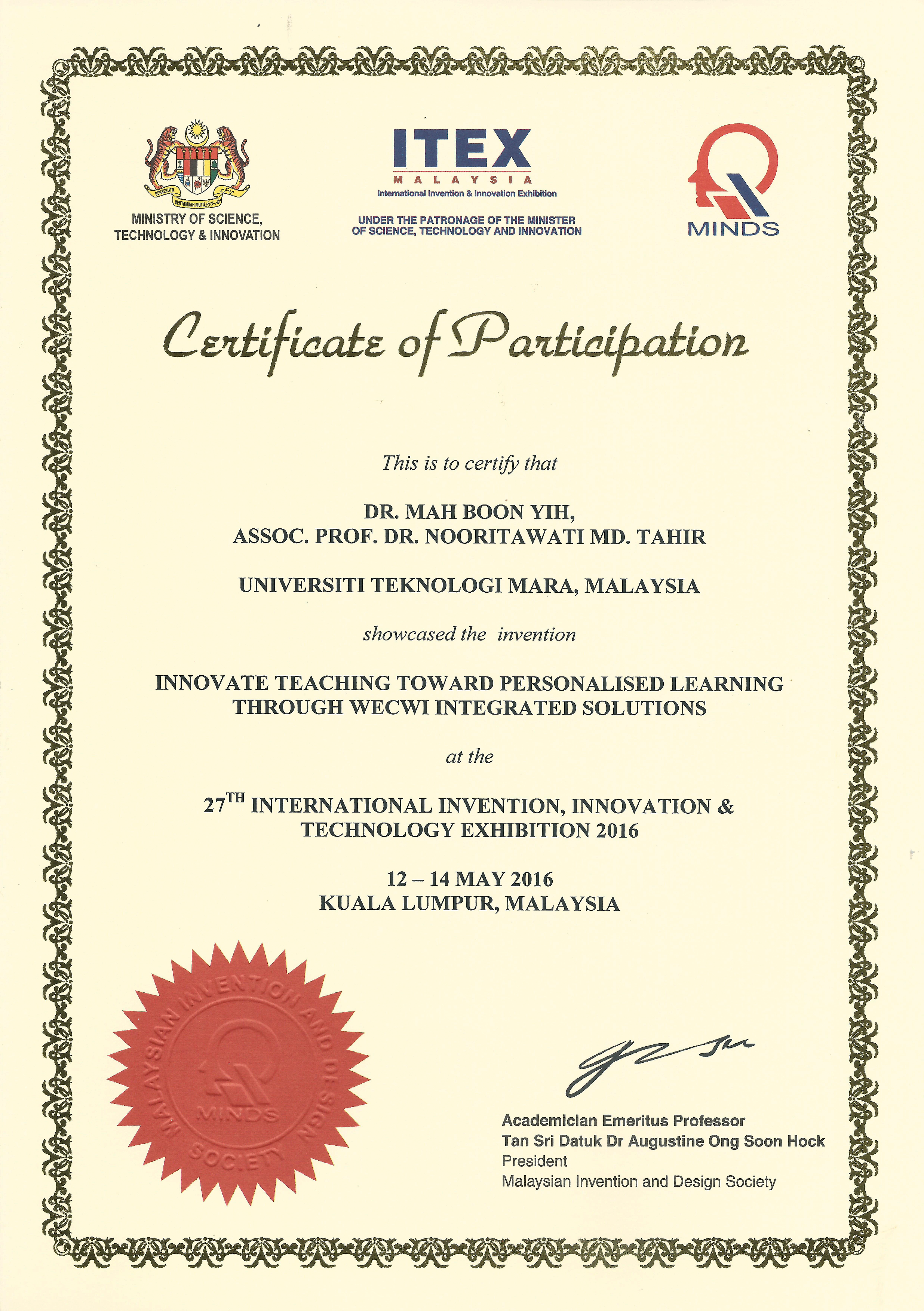 27th international invention innovation exhibition itex 27th international invention innovation exhibition itex certificate of participation 1betcityfo Image collections