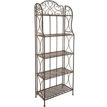 Antique Bronze Five Tiered Metal Baker S Rack With Images Decorative Plates Display Bakers Rack Living Room Sets Furniture