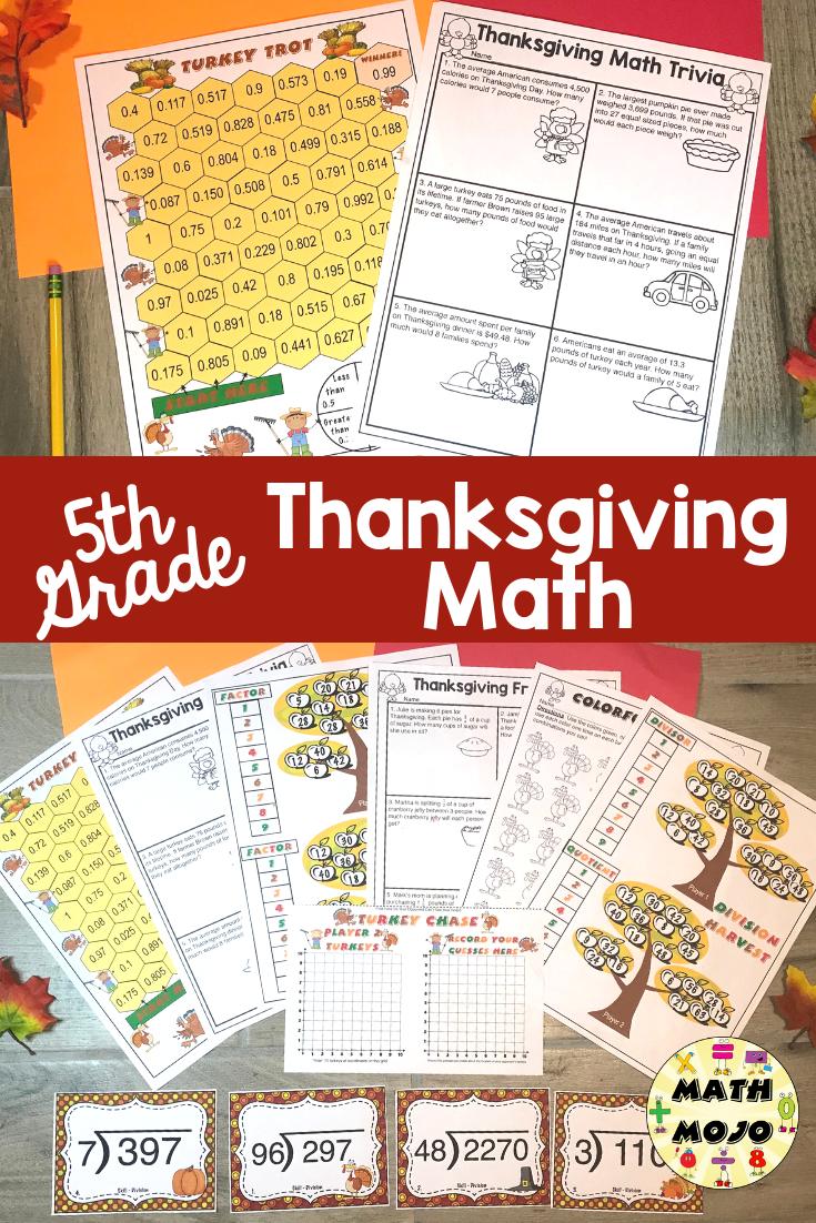 hight resolution of 5th Grade Thanksgiving Math   Thanksgiving math