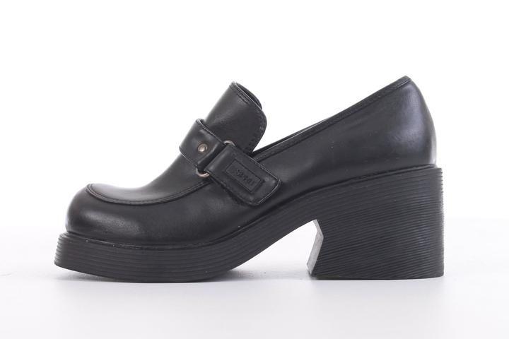 6737d2ac8a Vintage Esprit Platform Loafers Chunky Black Vegan Leather Shoes Women's  Size 7
