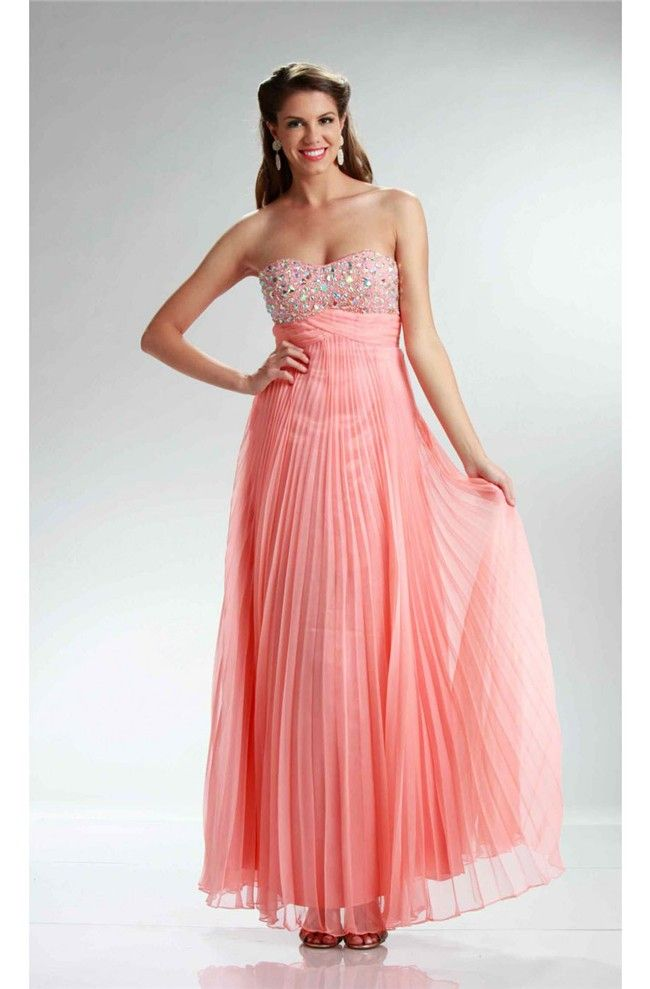 Stunning Strapless Empire Waist Long Coral Chiffon Pleated Prom ...