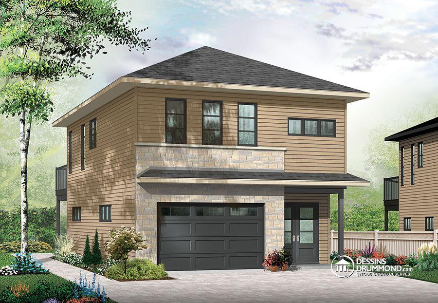 Garage contemporain avec logement à l\u0027étage! Plan de Maison