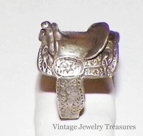 Vintage Older Sterling Silver Western Saddle Ring Size 9.5