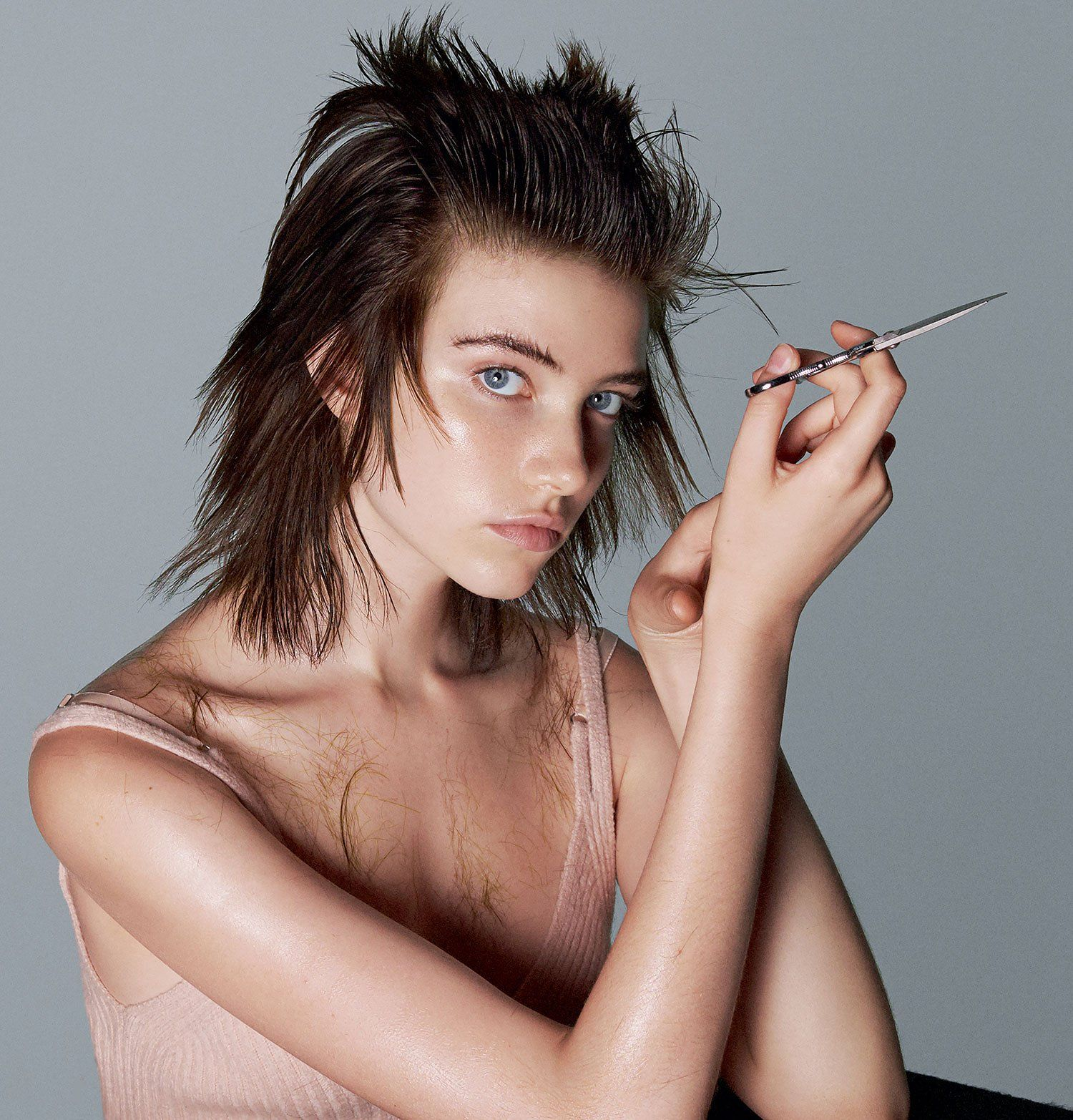 Model Grace Hartzel, whose career skyrocketed after she snipped her own jagged, rock-'n'-roll fringe, collaborated with hairstylist Guido Palau on her latest hair transformation.