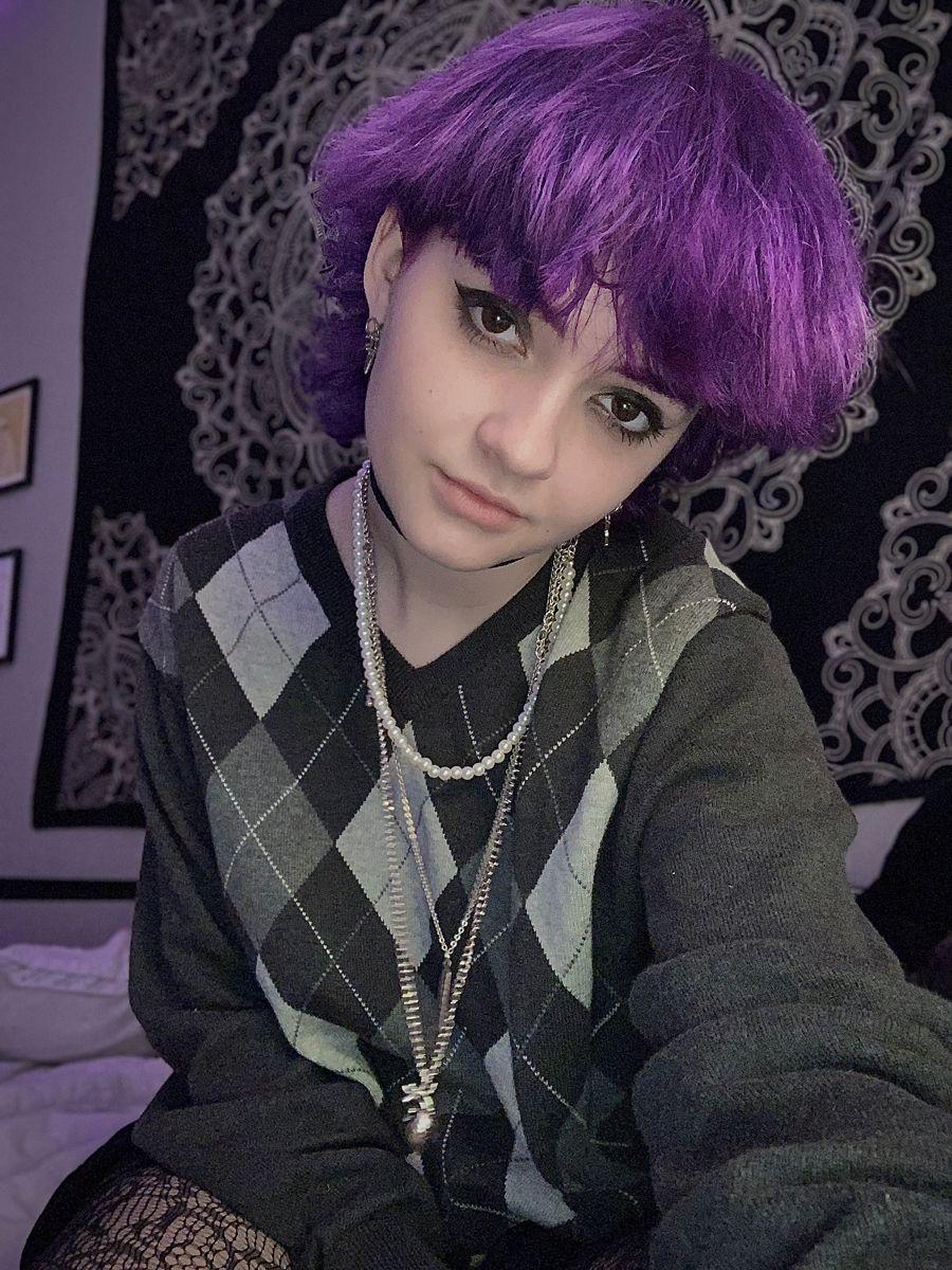 Purple mullet in 15   Short hair haircuts, Aesthetic hair ...