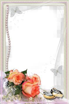 Beautiful Transparent Wedding Photo Frame With Rings And Roses