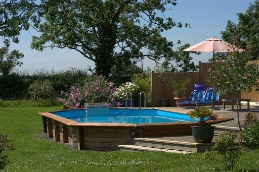 Sunken Above Ground Pool With Deck I Would Be Perfectly Content With This In Ground Pool Backyard Pool In Ground Pools Pool Landscaping