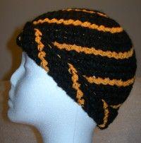 Echte Handarbeit Mütze Beanie Boshi Gehäkelt In Schwarz Orange