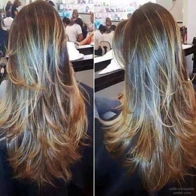 cabelo longo repicado loiro