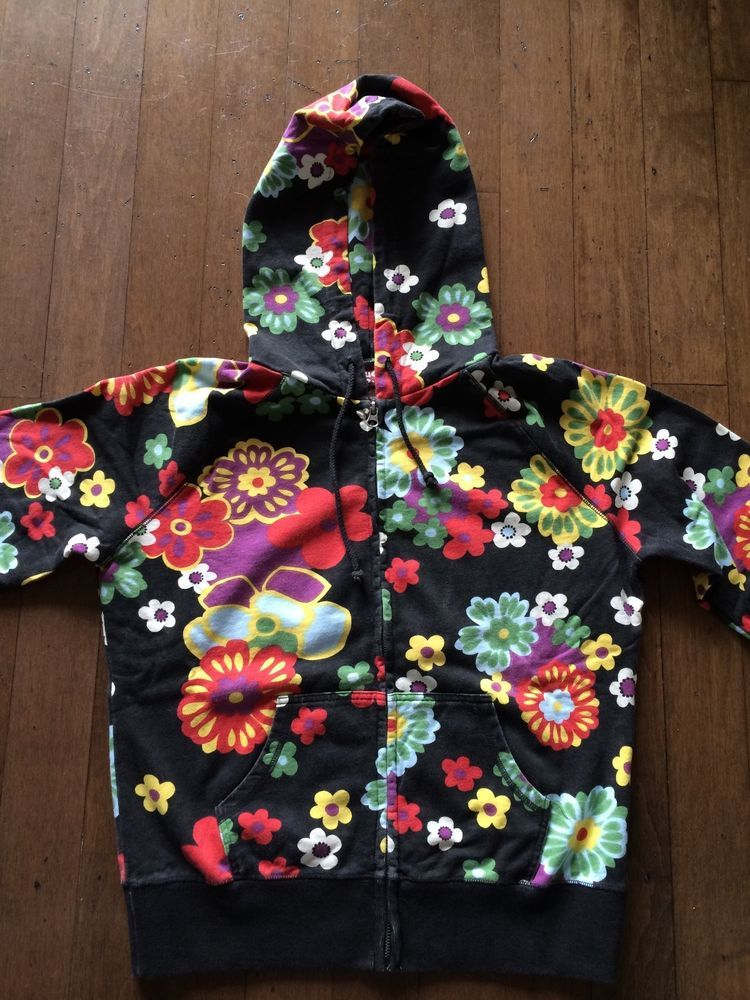 Womens Lucky Brand Vintage Zip Up Hoodie Black Multi Color Floral Xlarge New Sweatshirts Women Lucky Brand Oc Dress