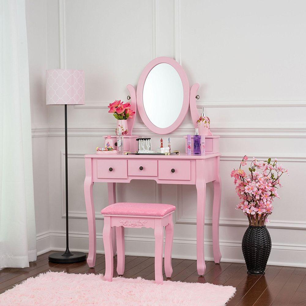 Vintage vanity mirror retro antique round make up vanity furniture