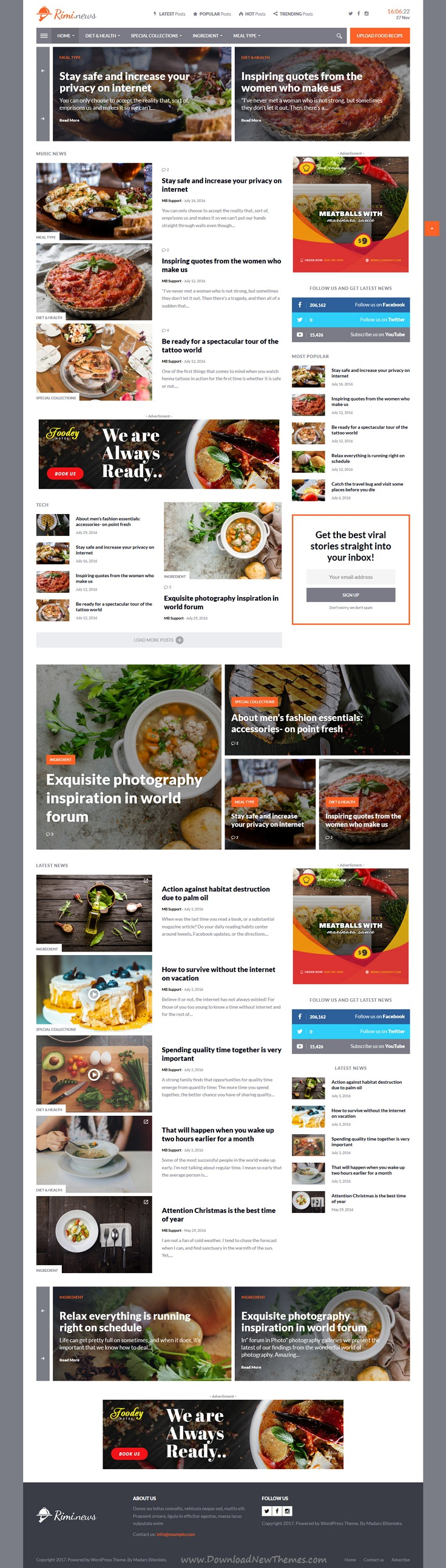 Rimi wordpress theme for food blog and magazine forumfinder Image collections