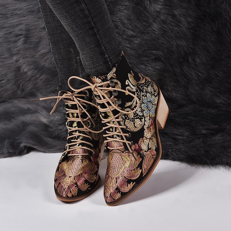 Photo of Women Winter Embroidered Pointed Toe Ankle Lace Up Boots