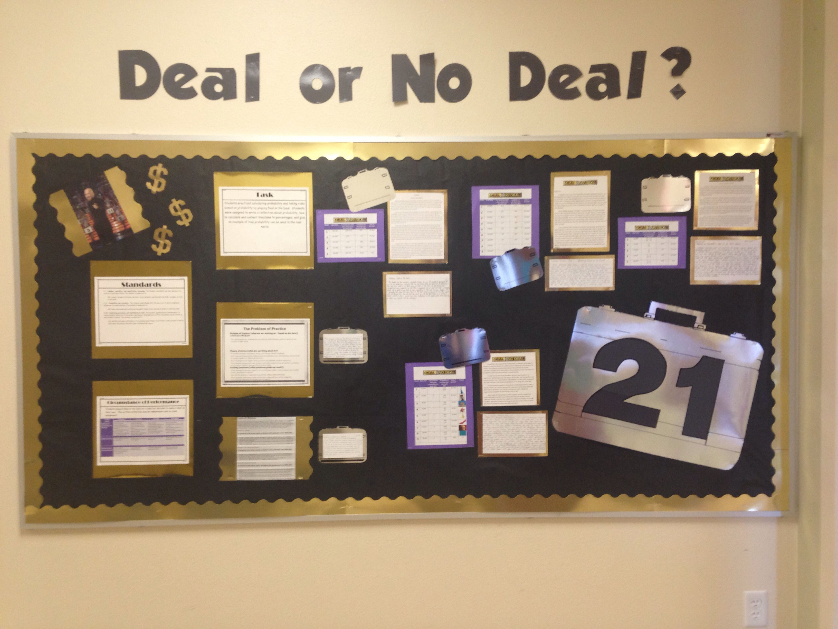 Deal Or No Deal Bulletin Board Middle School Math Probability