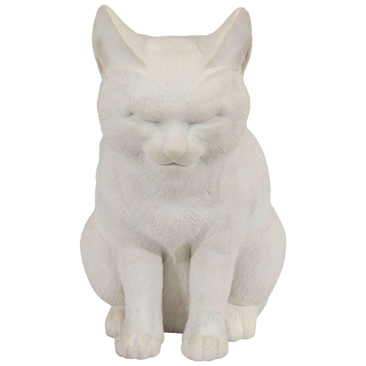19th Century Japanese Hirado Porcelain Cat Sculpture